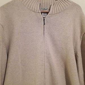 LL BEAN mens sweater jacket 100% cotton size XXL